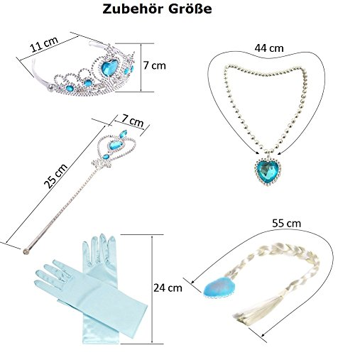 Canberries® Mädchen Prinzessin blaues Set aus Diadem, Handschuhe, Zauberstab, Zopf,Halskette 2-9 Jahre für Karneval, Fasching, (Kostüm Paar Alte)