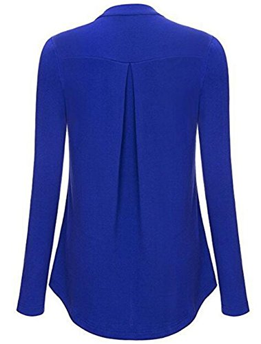 Gogofuture Eleganti Donna T-Shirt Manica Lunga Top Camicia Magliette Puro Colore Pulsante Bluse Casual Camicetta Taglie Forti Maglie Con Cerniera Blue