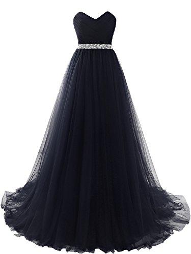 Clearbridal Damen Tüll Bandeau Lang Abendkleid Ballkleid Abschlusskleid Prinzessin SQS16422...