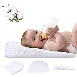 Waroomss Baby Keilkissen, Universal Memory Resilience Baumwolle & Wasserdichte Schicht Abnehmbare Abdeckung Anti Reflux Kissen Für Baby Matratze Und Schlaf
