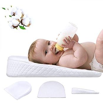 Waroomss Baby Keilkissen, Universal Memory Resilience Baumwolle & Wasserdichte Schicht Abnehmbare Abdeckung Anti Reflux Kissen Für Baby Matratze Und Schlaf 0