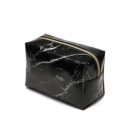 Couture Bleistift (Marmor Make Up Tasche Kulturbeutel Pu Handtasche Reise Pinsel Halter Bleistift Aufbewahrungskoffer mit Gold Reißverschluss für Frauen - Schwarz)