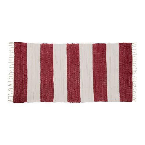 Relaxdays Flickenteppich gestreift 70 x 140 cm mit Fransen aus 100 % Baumwolle, Fleckerlteppich, Weiß-Rot -