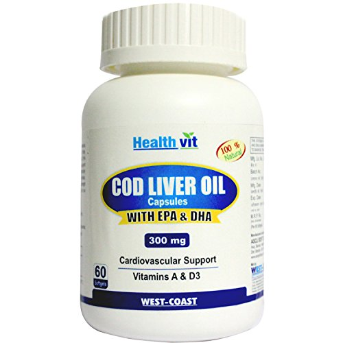 Healthvit Cod Liver Oil 300 mg - 60 SoftGel Capsules  available at amazon for Rs.299