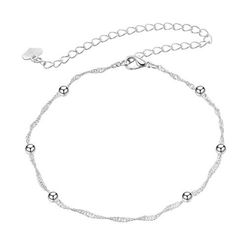 Daesar Damen Fußkette Versilbert Panzerkette mit Perlen Silber Fusskette Vintage