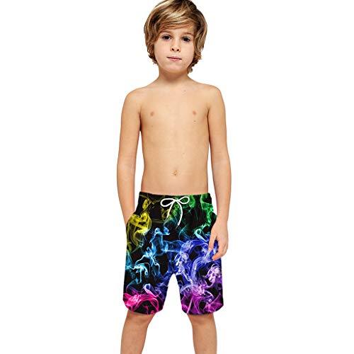 Kolila Herren Jungen Badeanzug Bademode Shorts Lässige Sommer Strand Shorts Mode 3D Gedruckt Kordelzug Schwimmen Badehose mit Tasche