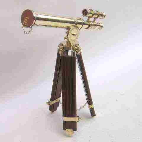 GRIFFITH DOUBLE BARREL TELESCOPE WITH WOODEN STAND OF NAUTICAL BY NAUTICALMART