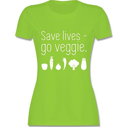 Küche - Save lives - go veggie - tailliertes Premium T-Shirt mit Rundhalsausschnitt für Damen Hellgrün