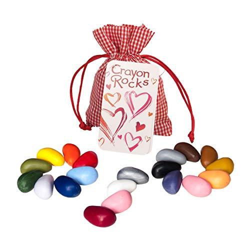 Crayon Rocks - Ungiftige kinder Wachsmalstifte mit Motor stimulierende wirkung - lang anhaltende Multicolor Buntstifte in einer roten Baumwolle tasche - 20 Valentine Farben - zum zeichnen auf Papier und Stoff - valentinschgeschenk edition