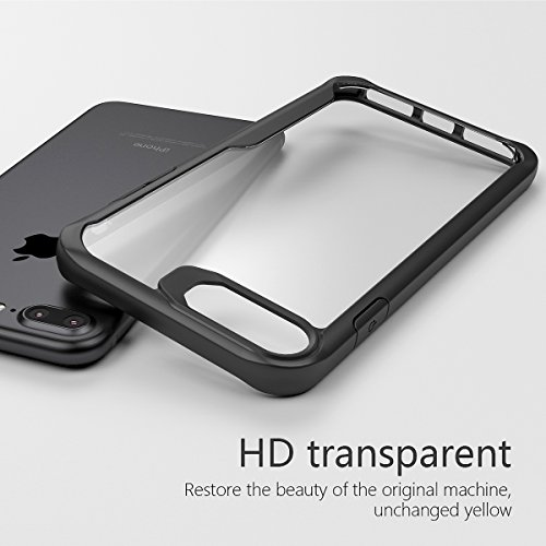 iPhone 7 Plus /iPhone 8 Plus (5.5 Inch) TPU Transparent Crystal Handyhülle Case Stoßfest TPU Ultra Thin Silikon Hülle Case HD Transparente Backcover Kristallklar Clear Slim Backcover Schutzhülle für i Schwarz