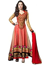 D7 Fashion's New Red Color Georgette And Net Fabric Dress Materials