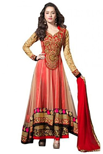 Floral Trendz New Red Color Net And Georgette Fabric Anarkali Dress Material