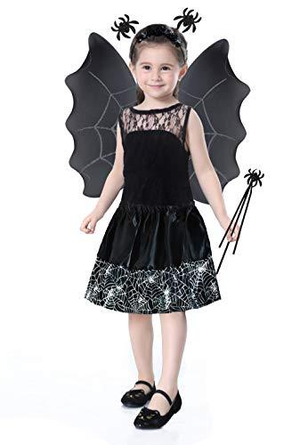 Iso Trade Kostüm Set Hexe Kinder 2 Farben Rot/Schwarz Outfit Halloween Rock Zauberstab 6408, ()