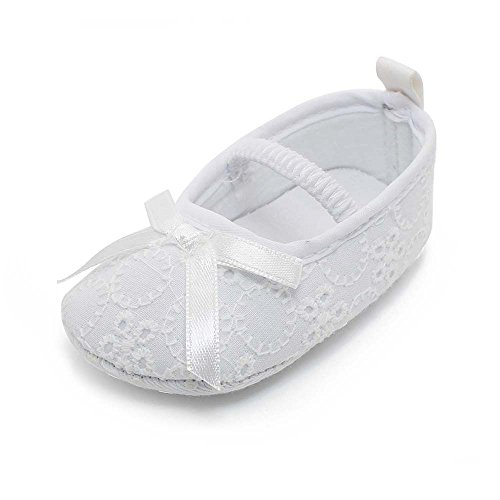 OOSAKU Baby Mädchen Kleinkind Säuglings Spitze Floral Bowknot Weiß Taufe Schuhe rutschfeste Mary Jane Dance Ballerina Hausschuhe (Weiß Mädchen Baby-schuh)