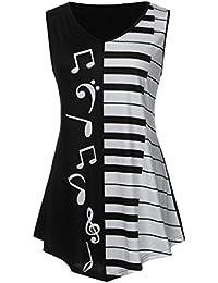 LILICAT® Camisetas Talla grande Mujer, Blusa Tops Mariposa + Nota musical Impreso, L,XL, 2XL,3XL,4XL,5XL, Blusa de Manga Larga Holgada 2018 (2XL, Negro1)