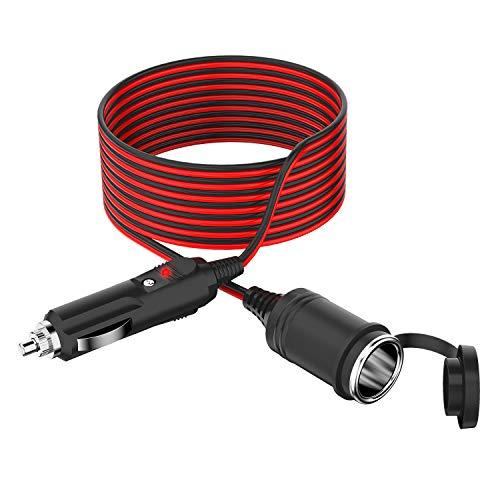 NeUe Dawn 3.5m KFZ Verlängerungs Kabel für Zigarettenanzünder Steckdose 12/24V 15A mit Sicherung Schwerlast,mit Zigarre Stecker Buchse, 17AWG Schwerlast kabel