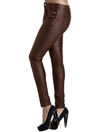 Leggings Femme Pantalon Extensible Faux Cuir Denim Slim Café