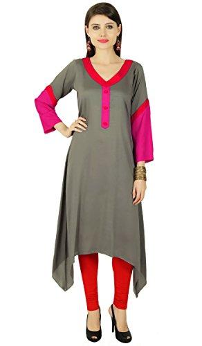 Asymétrique Designer Kurta femmes Kurti ethnique Cotton Blend Top Tunique Gray Et Rose