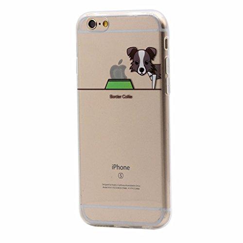 iPhone 6 / 6S Hülle, Keyihan Niedlich Haustier Hunde und Seine Näpfe Muster Dünn Durchsichtige Weiche Silikon TPU Handy Schutzhülle Case Bumper für iPhone 6 / iPhone 6S (Border Collie)