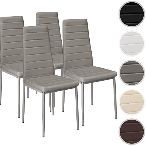 TecTake Set di sedie per sala da pranzo 41x45x98,5cm - disponibile in diversi colori e quantità - (4x Grigio | No. 401846)