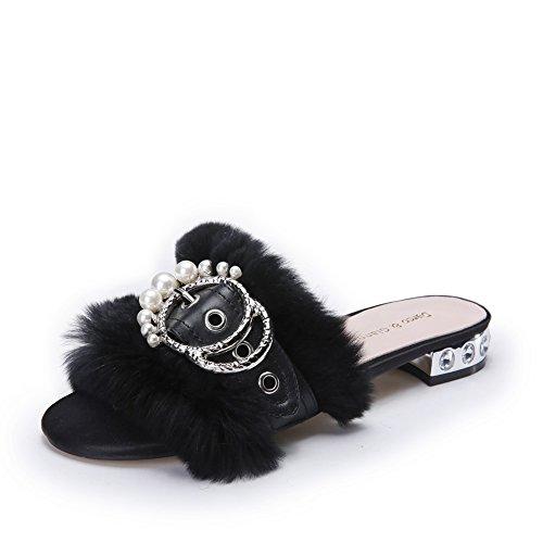Darco Gianni Donna Piatto Pantofola Pelliccia Sandali Scarpe Infradito Comfy Sliders Aprire La Punta Slip On Tacco Basso Nero con fibbia