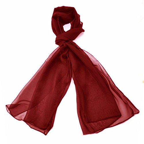 Klassische Ebene Chiffon Schal Licht Gewicht und WEICHEN Durchsichtige Halb Undurchsichtig Stoff 47 x 160cm - Luxuriöse Note Jeder Outfit Perfekte Täglich Wrap Schals (Burgund)