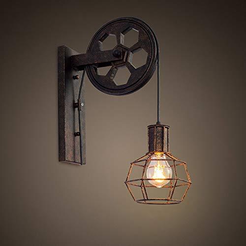 Loft Industrial Retro Wall Lamp Single Head Lifting Pulley Light Fixture