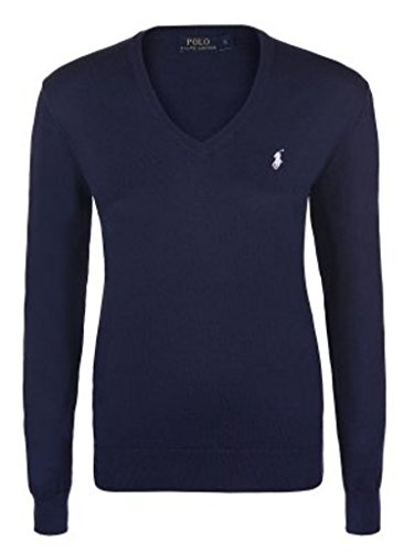 Polo Ralph Lauren Damen Pullover Eloise Pima Cotton Navy (S) (Lauren Knit Ralph Sweater Cable)