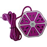 Nation1 Hexagonal Power Socket Extension Cord W/ Surge Protection Universal 4 Way Outlets With 4 USB Charging Station Multi Functional USB Desktop Charger UK/ US/ EU/ INDIAN Plug Travel Power Adapter (Purple) Wire Length 1.8 M