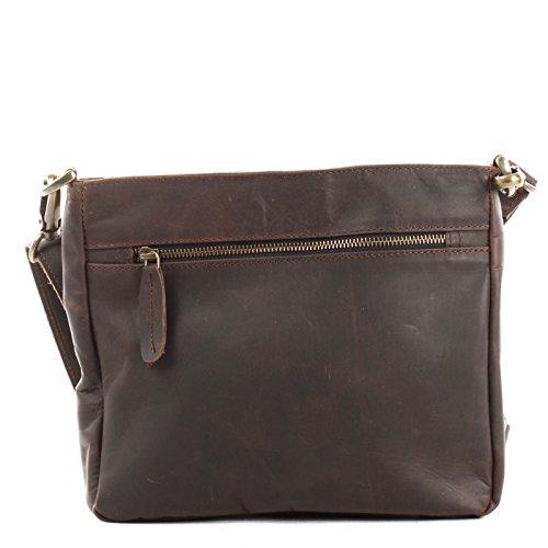 987f6395a2348a LECONI Umhängetasche Schultertasche Leder Freizeittasche für Damen und  Herren kleine Ledertasche 26x22x3cm LE3058 dunkelbraun  ?