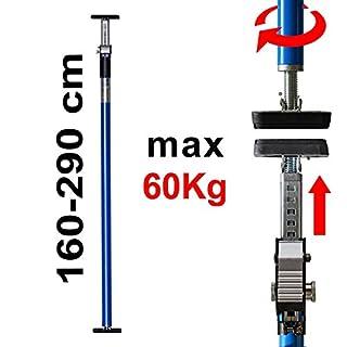 ALLEGRA AB290 Deckenstütze Profi Teleskopstange Einhandstütze bis 60kg Baustütze Höhe 290cm Teleskopstütze Montagestütze (Blau)