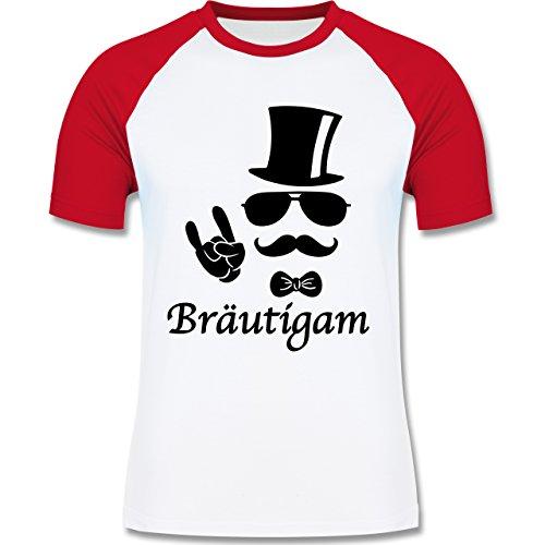 Shirtracer JGA Junggesellenabschied - Bräutigam Hipster Suit Up - Herren Baseball Shirt Weiß/Rot