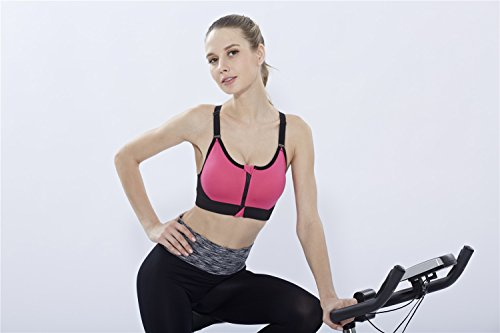 YeeHoo Stretch Workout Front Zipper Bra Sports Bra Yoga Running Wear Rouge