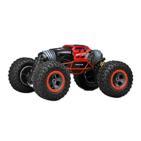 RC Rock Crawler Remote Car Big Wheel Vierradantrieb Rock Crawler Auto Fernbedienung Auto Eidechse Form Shifting Zwei-Wege-Auto mit eingebautem K�rper Batterie EU Plug (Red)