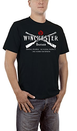 Kostüm Bang Gun (Touchlines Herren T-Shirt Winchester Two Guns Schwarz (Black 13),)