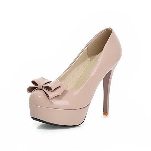 VogueZone009 Femme Stylet Couleur Unie Tire Verni Rond Chaussures Légeres Couleur de Chameau
