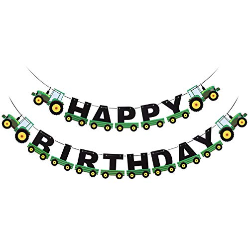 BESTOYARD Grüner Traktor Happy Birthday Banner Traktor Bunting Banner Kinder Geburtstag Traktor Thema Dekorationen für Geburtstag Baby Shower Party Supplies