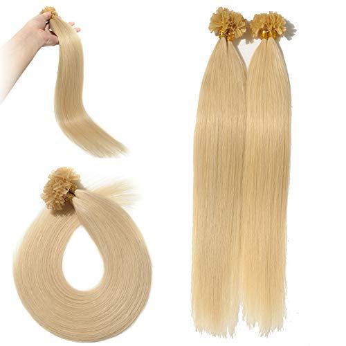 Silk-co Bonding Extensions Echthaar 100 strähnen - #613 Gebleichtes Blond - Kertain Bonding Haarverlängerung Remy Echthaar U Tip Human Hair (55cm-50g)