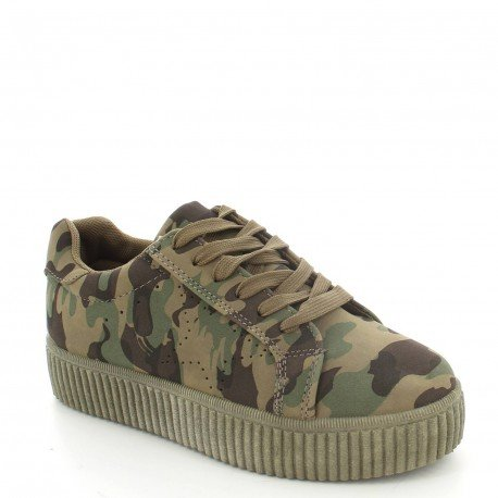 Ideal Shoes - Baskets style creepers effet velours Sophie militaire