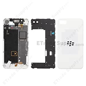 Genuine Full Complete Body Housing Replacement Back Cover Battery door Panel Housing Panel Faceplate Back Chassis Middle Housing with All Sensors and Chips for Blackberry Z10 White 4G Version