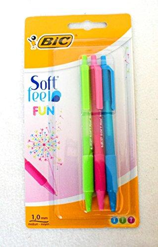 BIC Soft Feel FUN - Trend Colors Blue Green & Pink - 1,0 mm Medium