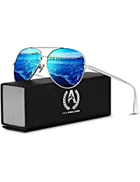 VVA Sonnenbrille Herren Pilotenbrille Polarisiert Pilotenbrille Polarisierte Sonnenbrille Herren Pilot Unisex UV400 Schutz durch V101