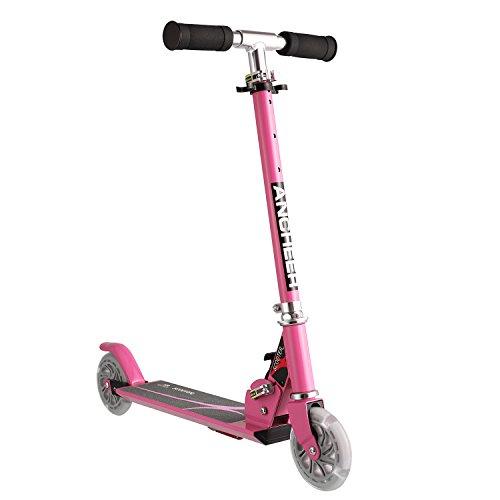 Ancheer Roller Scooter für Kinder, Verstellbare Kinderroller Tretroller Cityroller mit 2 Blinkenden LED-rollen, Faltbarer Tragbar Kinderscooter für Jüngere Mädchen ab 3-10 Jahre, Belastbar bis 60KG