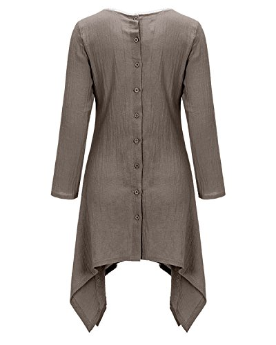 BIUBIU Damen Vintage Langarm Loose Kleid Boho Taschen Asymmetrisch Kleider DE 34-46 Grau