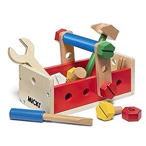 Micki 10-2174-00 Caja de Herramientas para niños. Build&Play, Color Rojo. Color Amarillo. Color Verde. Azul. Madera Natural.