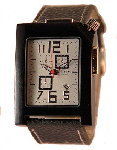 Schwarze Analog XXL Animoo U-Boot Uhr Leder Armbanduhr Herrenuhr mit Datum