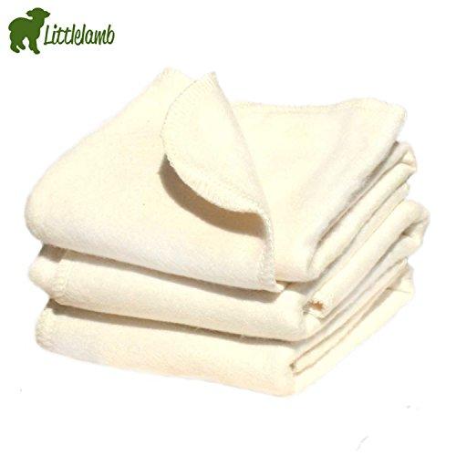 Little Lamb Bambus Faltwindel/Prefold (5 Stück) - Größe 3 (Large 31x41 cm (ab 16 kg)) Falteinlagen zum Wickeln mit Stoffwindeln Bamboo - 5er-Set