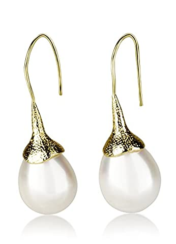 Retorica Yellow Gold Pearl Earrings - Shell Pearl Drop Earrings in Delicately Designed Yellow-Gold Plated Ear Wires