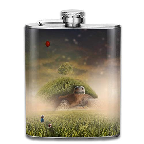 Turtle Shell Landscape Fashion Portable 304 Stainless Steel Leak-Proof Alcohol Whiskey Liquor Wine 7OZ Pot Hip Flask Travel Camping Flagon for Man Woman Flask Great Little Gift