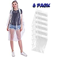 Disposable Rain Poncho - Adult - Transparent Raincoat- Pack of 6 Emergency Waterproof Ponchos -Unisex Adult Size- Perfect for Camping, Festivals and Hiking